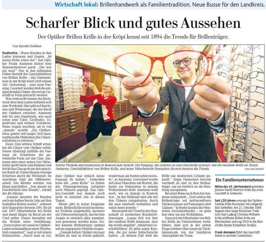 Ostsee-Zeitung berichtet über 120 Jahre Brillen Krille