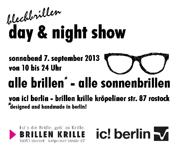 im Rahmen der Shopping Night in der Rostocker City am 7. September. Alle neuen Brillen & Sonnenbrillen von ic! berlin. Bei Ihrem Optiker in Rostock.